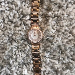 Fossil rose gold watch with diamonds